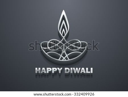 3D Stylish Shiny Diwali Lamp Design