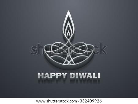 3D Stylish Shiny Diwali Lamp Design - stock vector