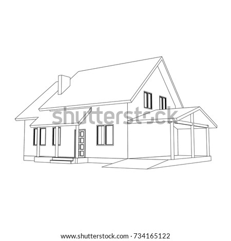 3 d suburban house model drawing modern vector de stock734165122 por dr project malvernweather Images