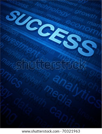 3d success text in perspective with tags and light vector background