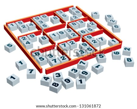 3d sudoku game board and boxes with numbers in a variety of positions. - stock vector