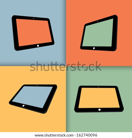 3d tablets with blank screens in color. vector eps10 - stock vector