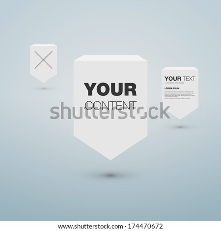 3D text box design for your content - stock vector