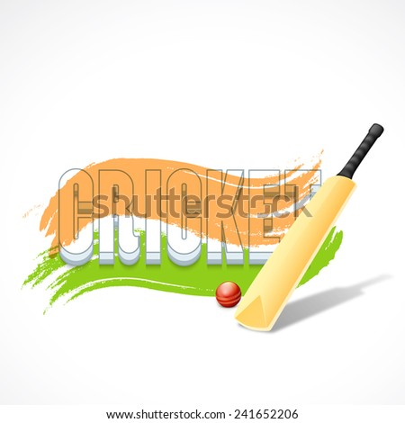 3D text Cricket with bat, red ball and Indian national tricolor paint stroke on white background. - stock vector