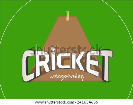 3D text for Cricket Championship with ball and wicket stumps on green background. - stock vector