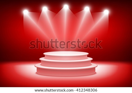 3d theatrical background. scene and red curtains. red podium on a background of red drape curtains. vector art - stock vector