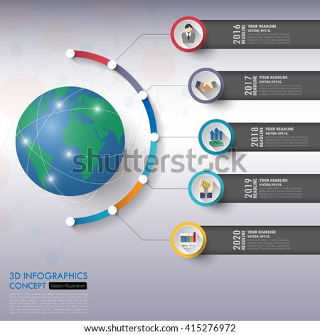 3d timeline infographics with icons set. vector. illustration. - stock vector
