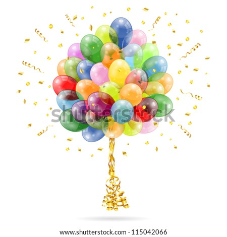 3D Transparent Birthday Balloons with Streamer and Confetti, isolated on white, easy change color, vector - stock vector