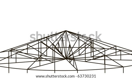 3D truss structure. Building background. - stock vector