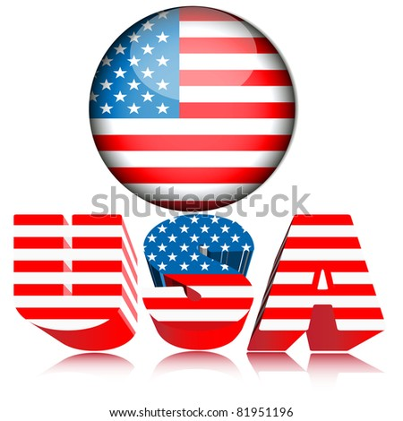 3d U.S.A. acronym button.Vector - stock vector