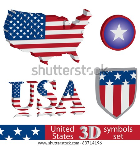 3D United States of America symbol set. Flag, map, shield badge. - stock vector