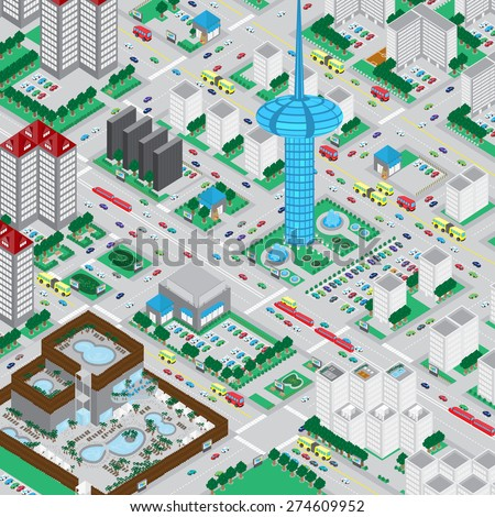 3D Urban City, Very Detailed - Vector Illustration, Graphic Design, Editable For Your Design  - stock vector