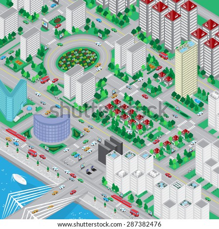 3D Urban City, Very Detailed - Vector Illustration, Graphic Design, Editable For Your Design
