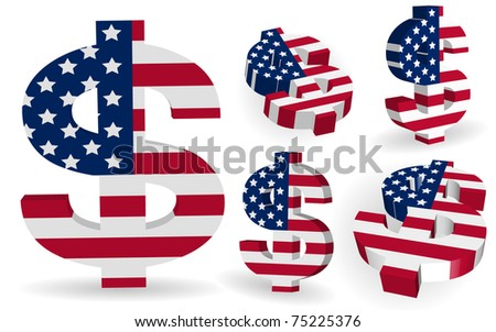 3D US dollar signs with USA flag - stock vector