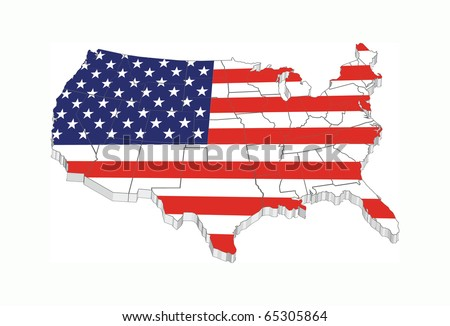 3D USA flag map with states - stock vector