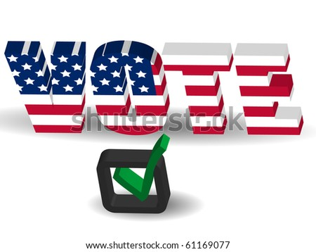 3d USA flag Vote sign with check mark