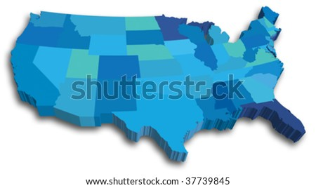 3D USA State map - stock vector