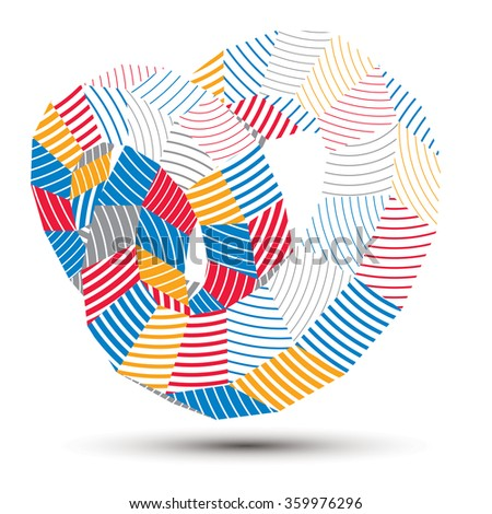 3D vector abstract design object, polygonal complicated figure. Colorful three-dimensional deformed striped shape, render.