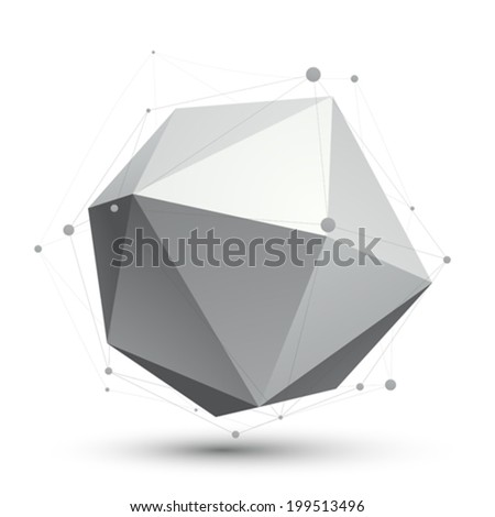 3D vector abstract tech illustration, perspective geometric unusual object with wireframe. - stock vector