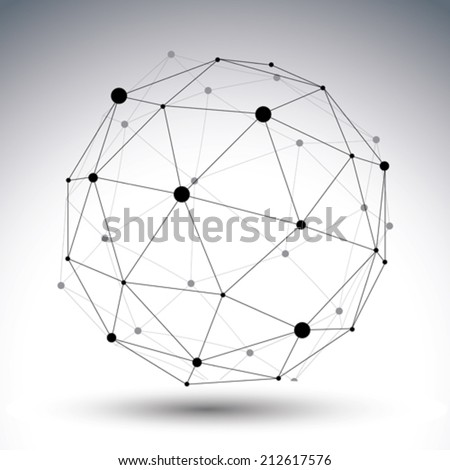 3D vector abstract technology illustration, perspective geometric unusual asymmetric wireframe object. Perspective lattice figure isolated on white background. - stock vector