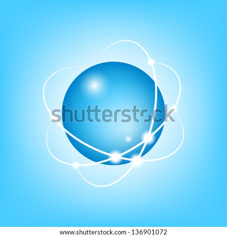 3D Vector Atom on blue, EPS10 - stock vector