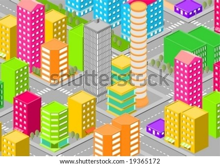 3d vector city - stock vector