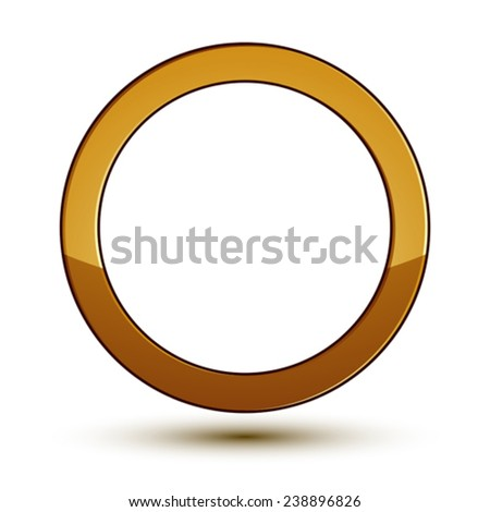 3d vector classic royal symbol, sophisticated golden round emblem isolated on white background, glossy aurum element. - stock vector