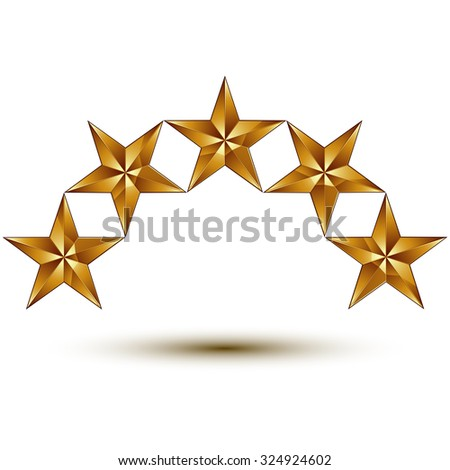 3d vector classic royal symbol, sophisticated golden round stars isolated on white background, glossy aurum element. - stock vector