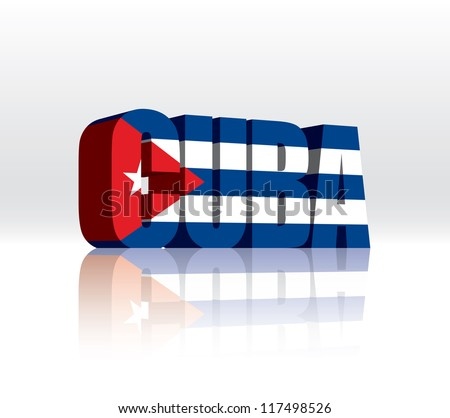 3D Vector Cuba Word Text Flag