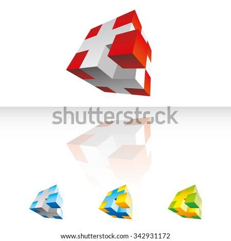 3D vector cubes - stock vector