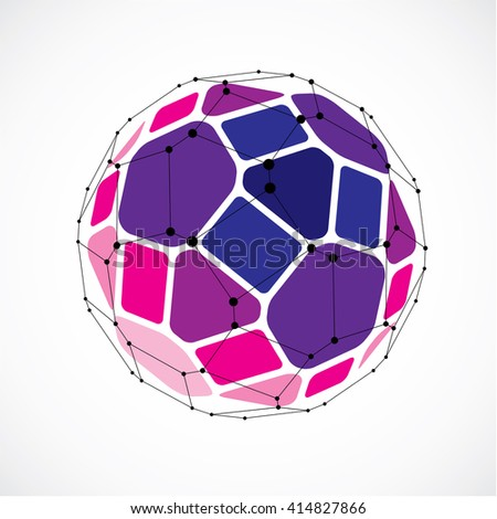 3d vector digital wireframe spherical object made using facets. Geometric polygonal purple ball created with lines mesh and pentagons. Low poly shape, lattice form for use in web design. - stock vector