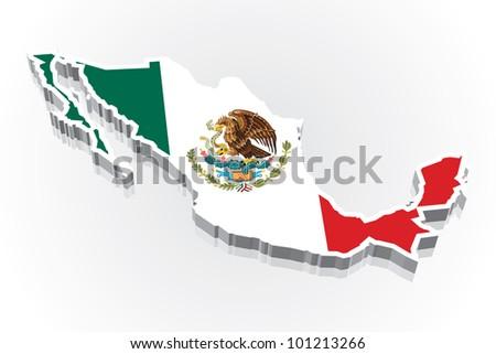 3D vector flag map of Mexico - stock vector