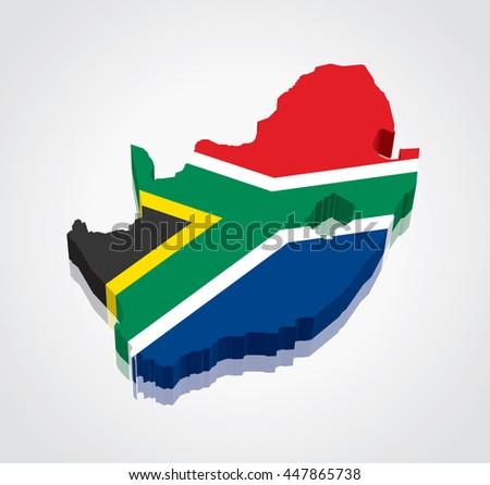 3d Vector Flag Map South Africa Stock Vector 447865738 Shutterstock