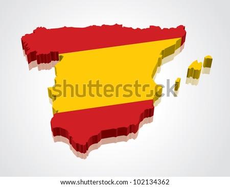 3D vector flag map of Spain - stock vector
