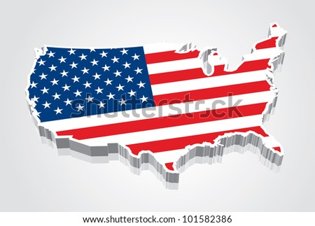 3D vector flag map of the USA (United States of America)