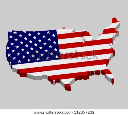 3D vector flag map of the USA - United States of America - stock vector