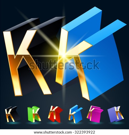 3D vector futuristic luxury alphabet with gold. All symbols in set have 8 random points of view and 6 different colors. Letter K - stock vector