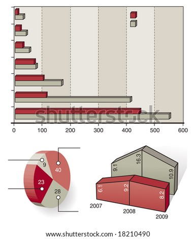 3D vector graph template - stock vector