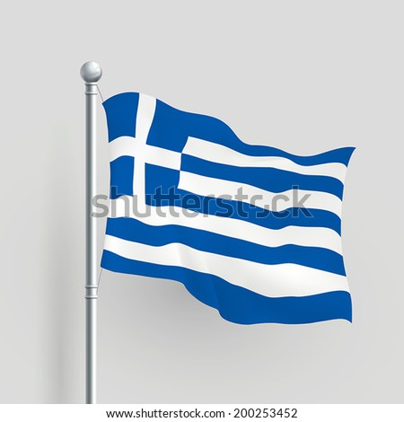 3d vector Greece flag blowing in a breeze - stock vector
