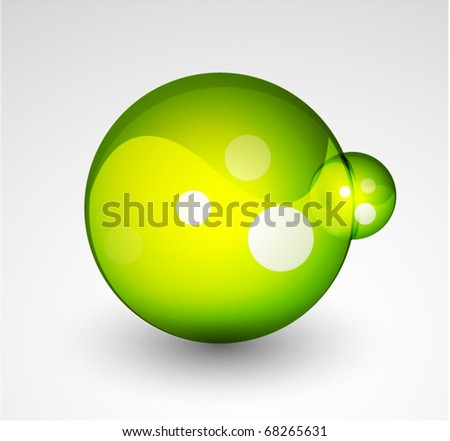 3D Vector green abstract sphere - stock vector