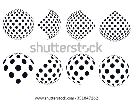 3D vector halftone spheres. Set of abstract backgrounds. Ð?otted circle. Isolated on white background. Black and white sphere dots pattern. Design element. Vector illustration. - stock vector