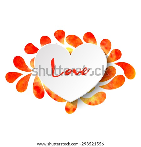 3d vector heart on watercolor splashes background with 'Love' lettering in orange and yellow colors. Vector illustration EPS10. - stock vector