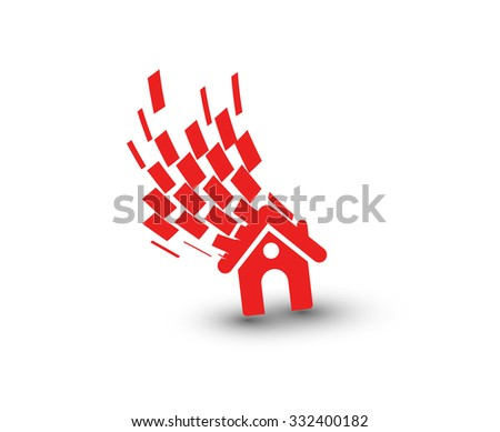 3d vector home icon design with isolated on white background. - stock vector
