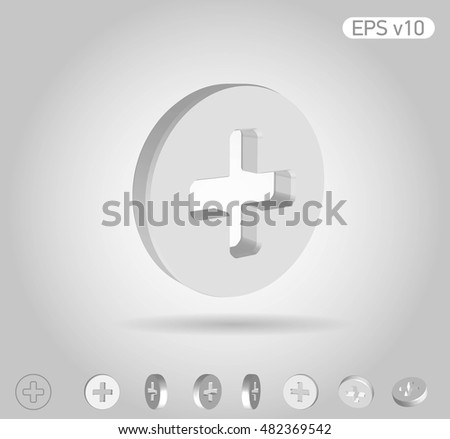 3d vector icon of plus on white background with shadow. Include original view and different angles.