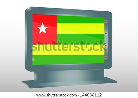 3D Vector Illustration of a Glass Holder isolated with the flag of Togo - stock vector