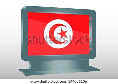 3D Vector Illustration of a Glass Holder isolated with the flag of Tunisia - stock vector