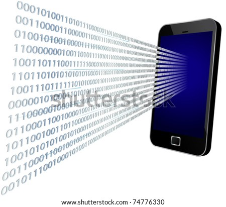 3D vector illustration of binary code coming through modern touch screen mobile phone - stock vector