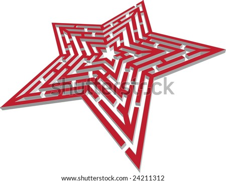 3d vector illustration of simple vector maze - stock vector