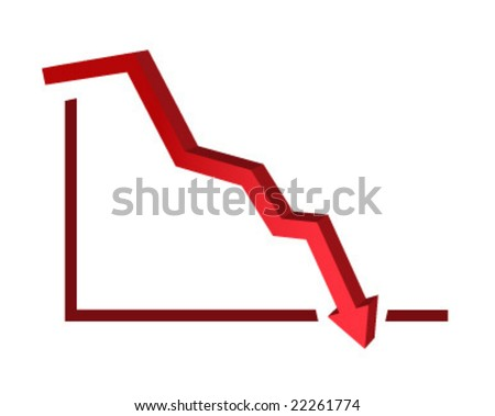 3d vector illustration of stock price going down