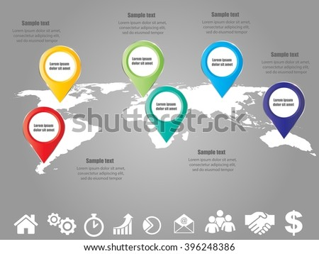 3D vector infographic banner template with map of world set of icons and place for text eps10 - stock vector